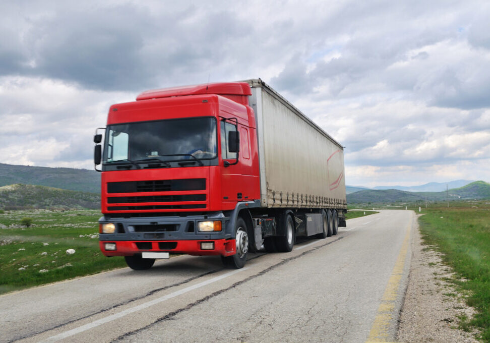 cargo truck in the road